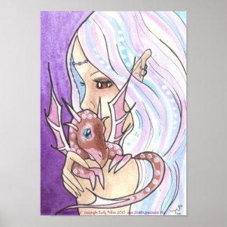 Fairy Nymph + Dragon big eye fantasy art Poster