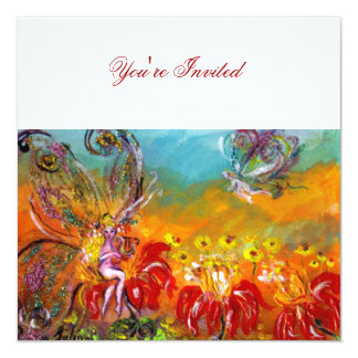 FAIRY OF RED FLOWERS Floral Fantasy Summer Party Card