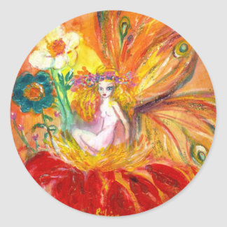FAIRY OF THE FLOWER CLASSIC ROUND STICKER