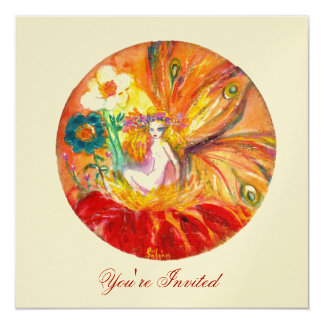 FAIRY OF THE FLOWERS gold metallic ,red  yellow Card