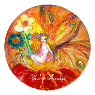 FAIRY OF THE FLOWERS red yellow gold sparkles Card