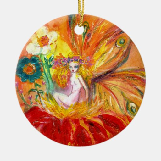 FAIRY OF THE FLOWERS Vibrant Red Ruby Ornament
