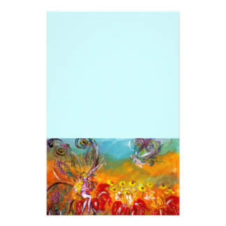 FAIRY OF THE RED FLOWERS ,blue Stationery