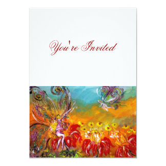FAIRY OF THE RED FLOWERS Fantasy Birthday Party Card