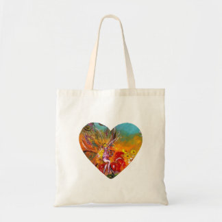 FAIRY OF THE RED FLOWERS Fantasy Heart Tote Bag