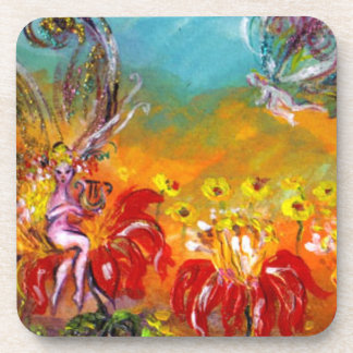 FAIRY OF THE RED FLOWERS Floral Fantasy Drink Coaster