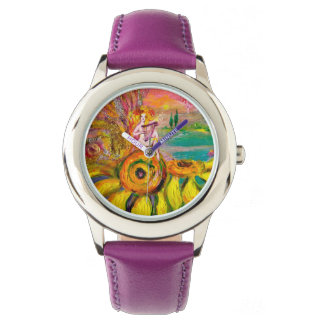 FAIRY OF THE SUNFLOWERS.Pink Fuchsia Watch