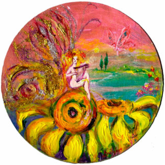 FAIRY OF THE SUNFLOWERS yellow orange pink sparkle Cutout