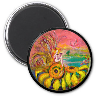 FAIRY OF THE SUNFLOWERS yellow pink black 2 Inch Round Magnet
