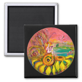 FAIRY OF THE SUNFLOWERS yellow pink black 2 Inch Square Magnet