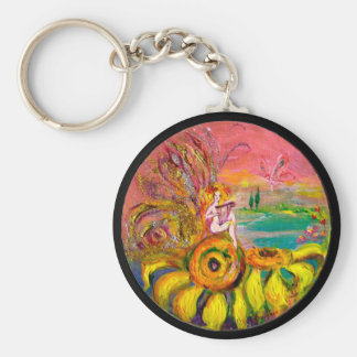 FAIRY OF THE SUNFLOWERS yellow pink black Keychain