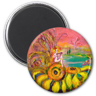 FAIRY OF THE SUNFLOWERS yellow pink black Magnet