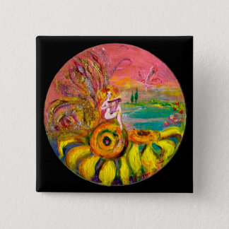 FAIRY OF THE SUNFLOWERS yellow pink black Pinback Button