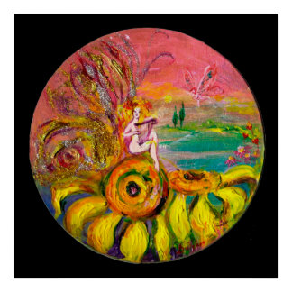 FAIRY OF THE SUNFLOWERS yellow pink black Posters