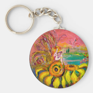 FAIRY OF THE SUNFLOWERS yellow pink blue Keychain