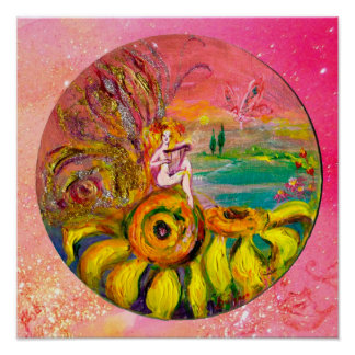 FAIRY OF THE SUNFLOWERS yellow pink sparkles Print