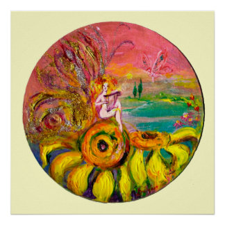 FAIRY OF THE SUNFLOWERS yellow pink white Print