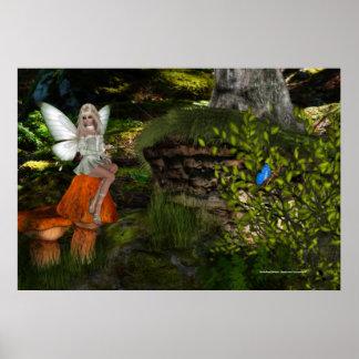 Fairy on a Mushroom Design 2 Print
