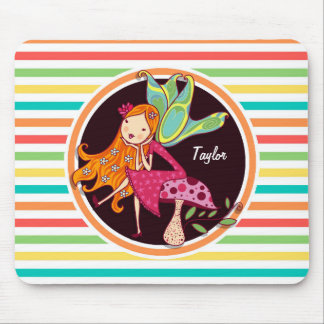 Fairy on Bright Rainbow Stripes Mouse Pad