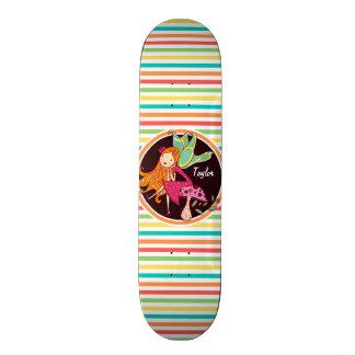 Fairy on Bright Rainbow Stripes Skateboard Deck