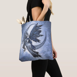 Fairy on Crescent Moon Fantasy Art Tote Bag