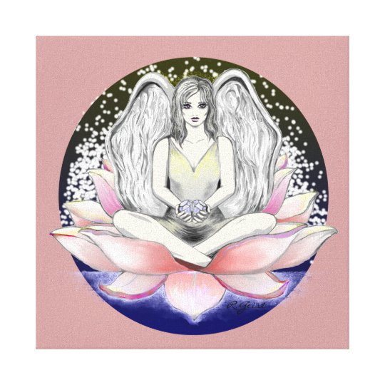 Fairy on Lily Pad with stars in night sky,diamonds Canvas Print