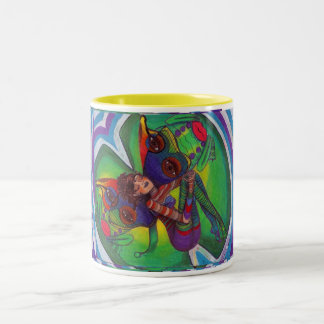 fairy on lilypad with frog Two-Tone coffee mug