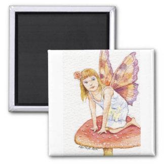 Fairy On Mushroom Stamp Magnet