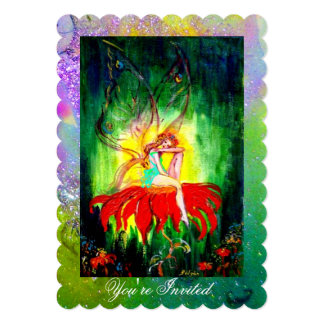 FAIRY ON RED FLOWER Purple Yellow Green Sparkles Card
