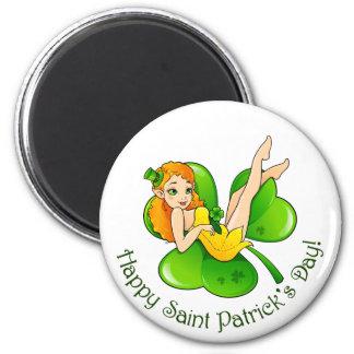 Fairy on shamrock 2 inch round magnet
