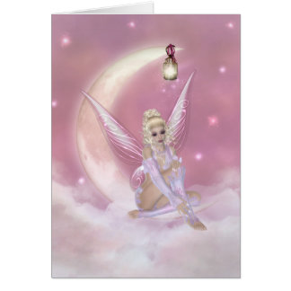 Fairy on the Moon - Fantasy Greeting Card
