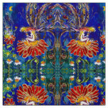 FAIRY ON THE RED FLOWER IN THE NIGHT Blue Green Fabric