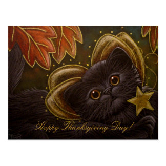 FAIRY PERSIAN CAT - THANKSGIVING Postcard