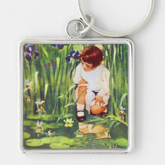 Fairy Picnic at the Lily Pond Keychain