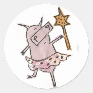 Fairy Pig Classic Round Sticker