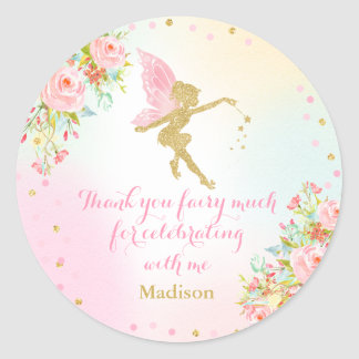 Fairy Pink & Gold Party Favor Tag Sticker Seal