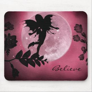 Fairy pink moon glow mousepad