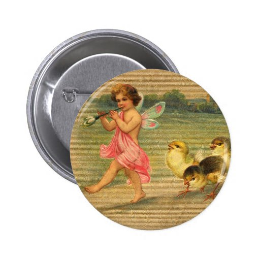 Fairy Piper and Chicks Vintage Easter Button