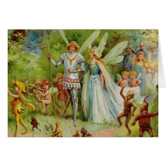 Fairy Prince and Thumbelina in the Magic Wood Greeting Card