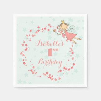 Fairy Princess 1st Birthday Party Paper Napkin