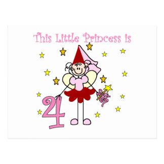 Fairy Princess 4th Birthday  Tshirts and Gifts Postcard
