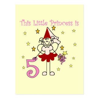 Fairy Princess 5th Birthday Tshirts and Gifts Postcard