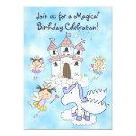 "Fairy Princess, Castle and Pegasus Birthday Invite 5"" X 7"" Invitation Card"