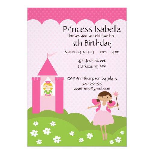 Fairy Princess Castle Birthday Custom Invitations