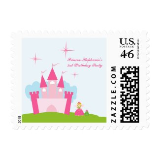 Fairy princess castle birthday party postage stamp stamp