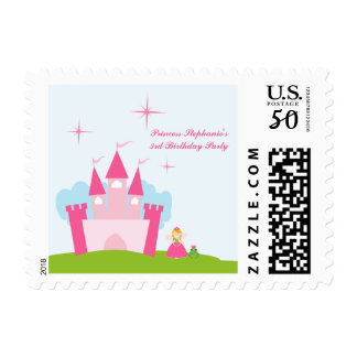 Fairy princess castle birthday party postage stamp