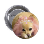 fairy princess dog with diamond crown pinback buttons