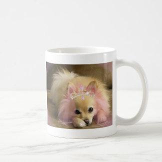 fairy princess dog with diamond crown classic white coffee mug