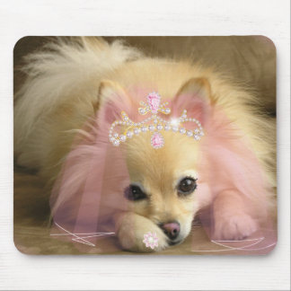 fairy princess dog with diamond crown mouse pad
