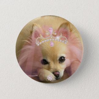fairy princess dog with diamond crown pinback button